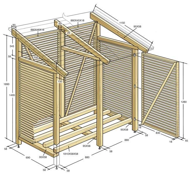 Costruire una legnaia fai da te da esterno con tettoia for Costruire una semplice capanna di legno