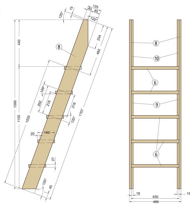 Costruire un letto a soppalco fai da te con scrivania dedicata - Scaletta per letto a castello ...