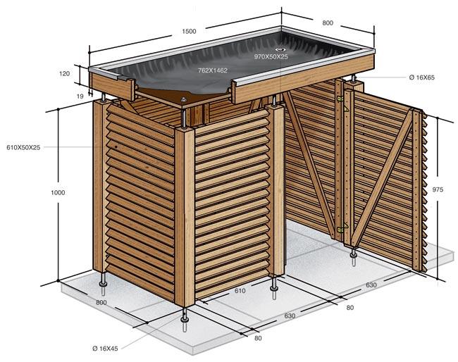 Nascondi bidoni immondizia fai da te in legno d'abete - Bricoportale: Fai da te e bricolage