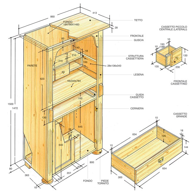 Credenza rustica fai da te in legno d 39 abete bricoportale - Costruire un mobile in legno ...