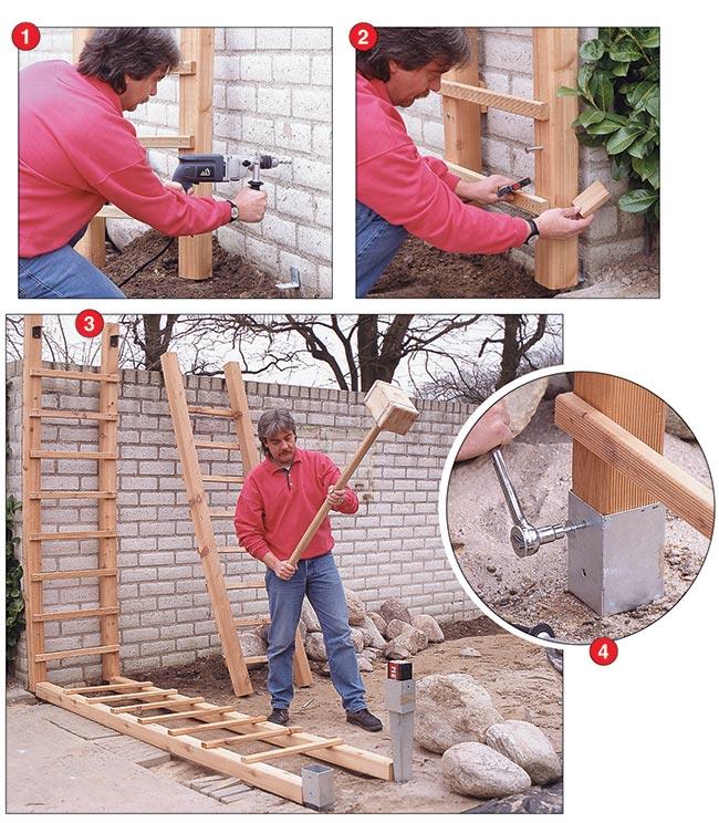 costruzione pergolato, mazza di legno