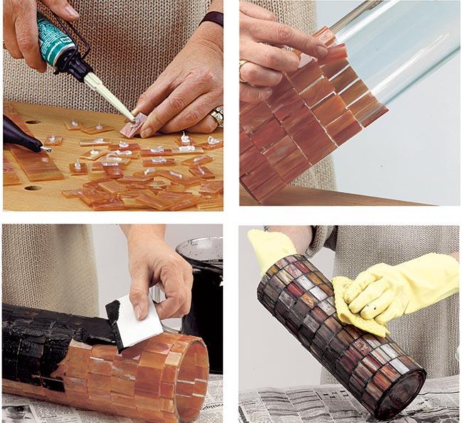 applicare tessere mosaico su vetro
