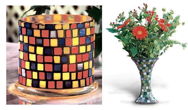 vasetto di vetro decorato