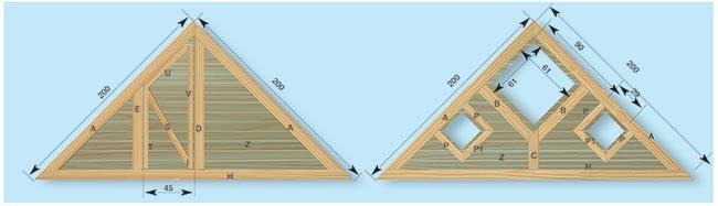 telai trinagolari di legno