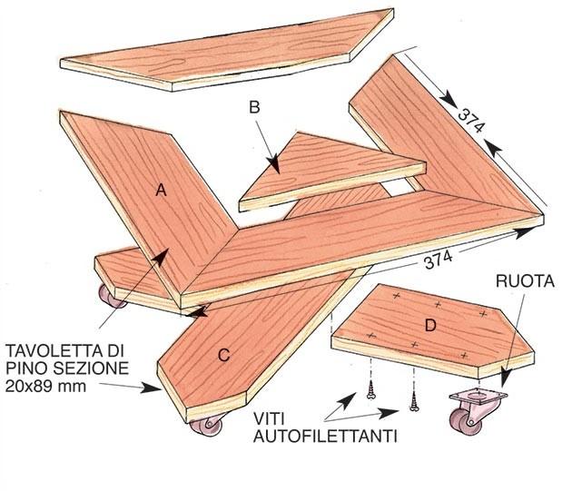 disegno sottovaso in legno