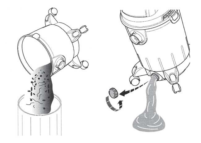 svuotamento per solidi e liquidi di un aspiratore